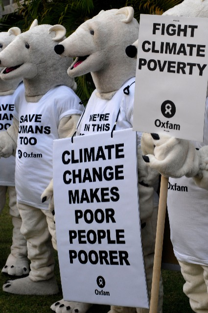 Oxfam\'s Polar Bears protest at the UN Climate Change Conference