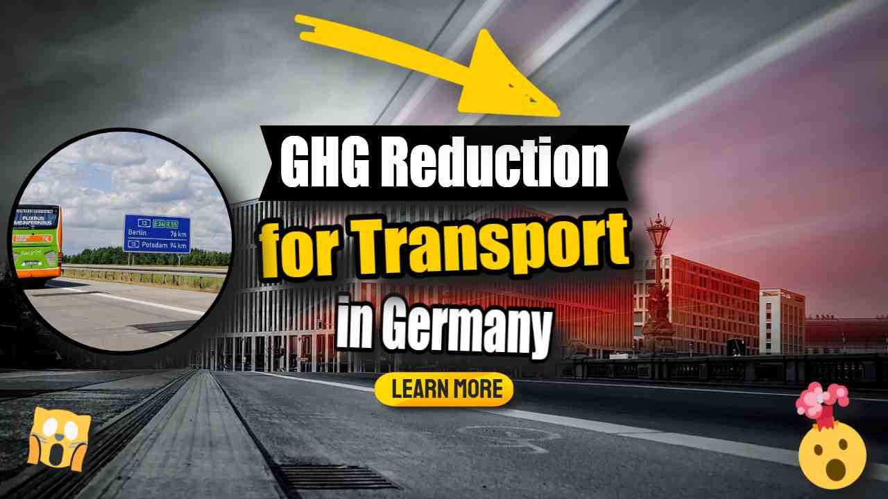 """Image text: """"GHG Reduction for transport in Germany""""."""